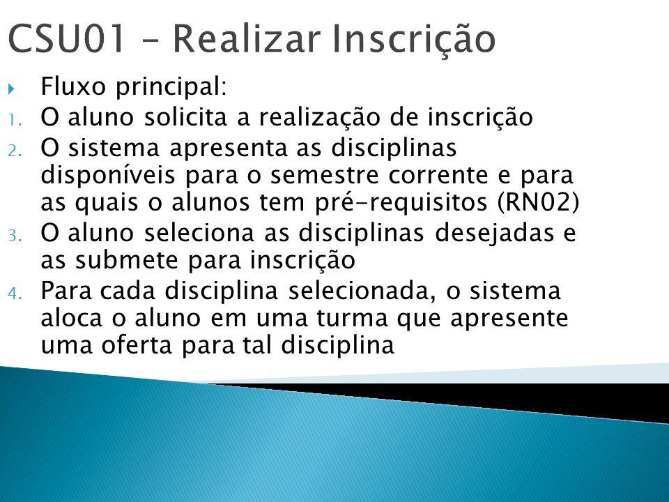 CSU01 – Realizar Inscrição Fluxo principal: 1. O aluno solicita a realização de inscrição 2. O sistema apresenta as disciplinas disponíveis para o sem