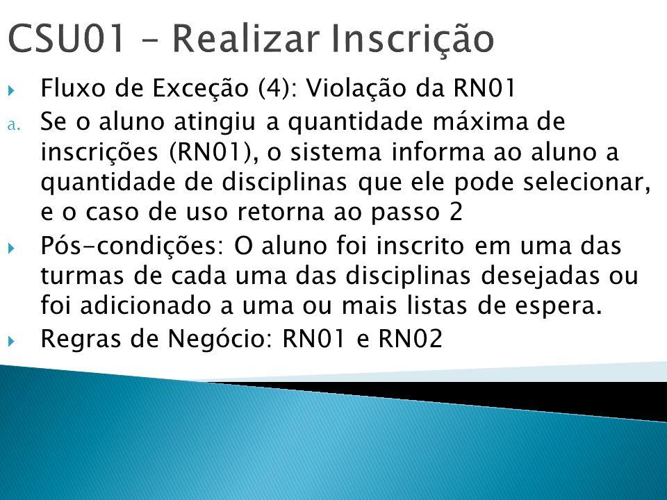 CSU01 – Realizar Inscrição Fluxo de Exceção (4): Violação da RN01 a. Se o aluno atingiu a quantidade máxima de inscrições (RN01), o sistema informa ao