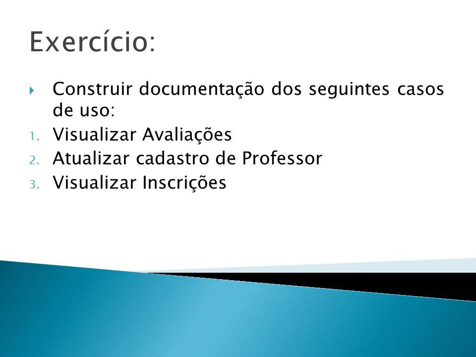 Exercício: Construir documentação dos seguintes casos de uso: 1. Visualizar Avaliações 2. Atualizar cadastro de Professor 3. Visualizar Inscrições