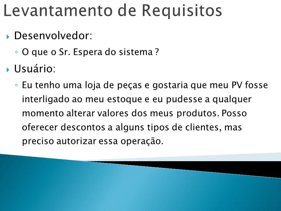 Levantamento de Requisitos Usuário: No fim do mês quero um relatório dos produtos que mais venderam.