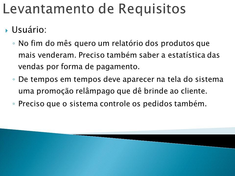 Levantamento de Requisitos Usuário: No fim do mês quero um relatório dos produtos que mais venderam. Preciso também saber a estatística das vendas por