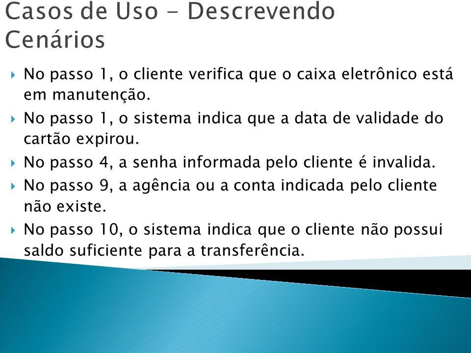Casos de Uso - Descrevendo Cenários No passo 1, o cliente verifica que o caixa eletrônico está em manutenção. No passo 1, o sistema indica que a data