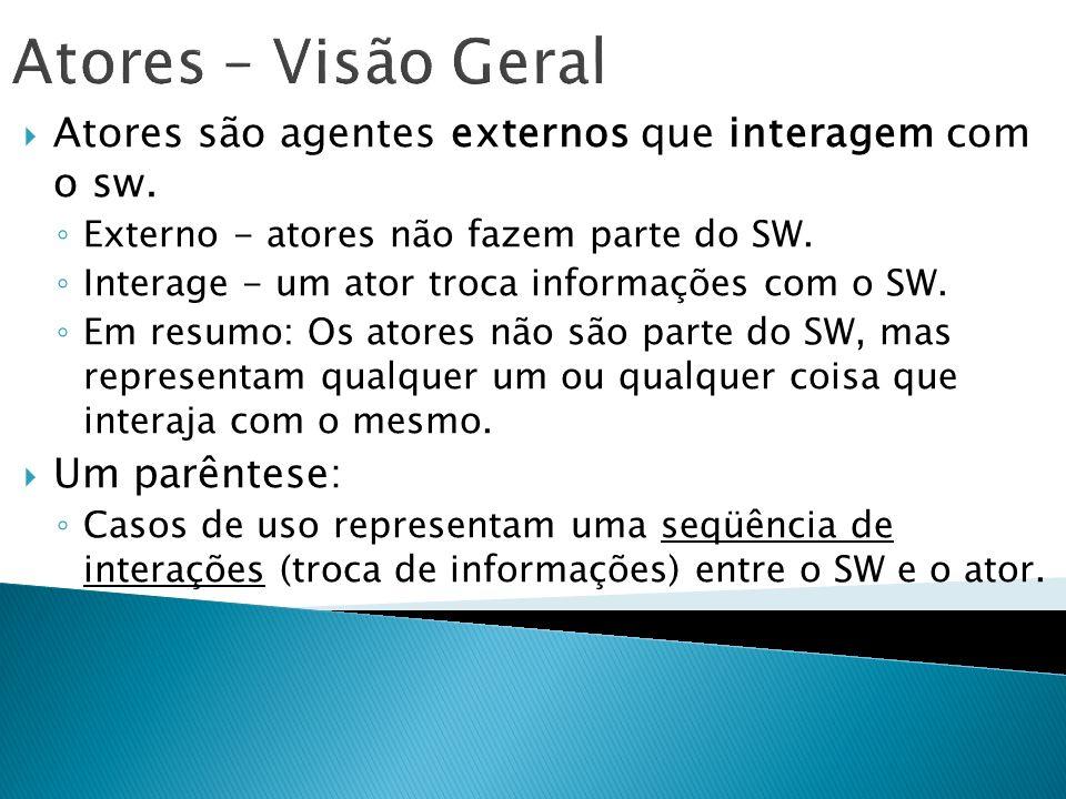 Atores – Visão Geral Atores são agentes externos que interagem com o sw. Externo - atores não fazem parte do SW. Interage - um ator troca informações