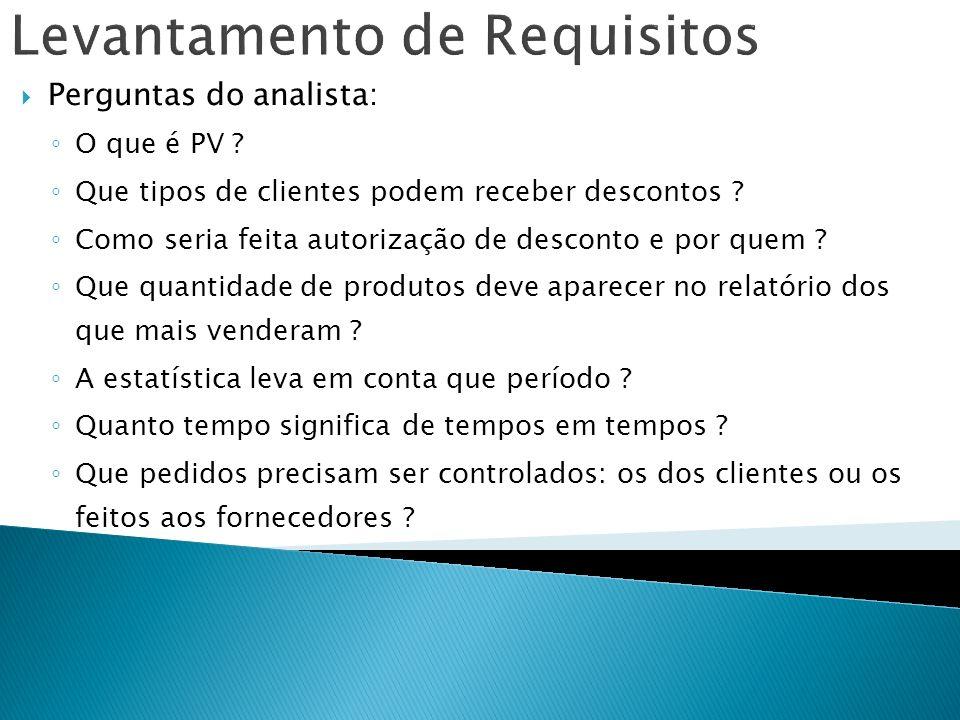 Levantamento de Requisitos Perguntas do analista: O que é PV ? Que tipos de clientes podem receber descontos ? Como seria feita autorização de descont