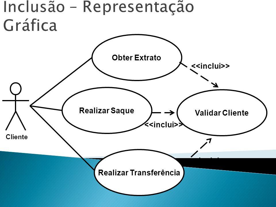 Inclusão – Representação Gráfica Obter Extrato Validar Cliente > Realizar Saque Realizar Transferência > Cliente