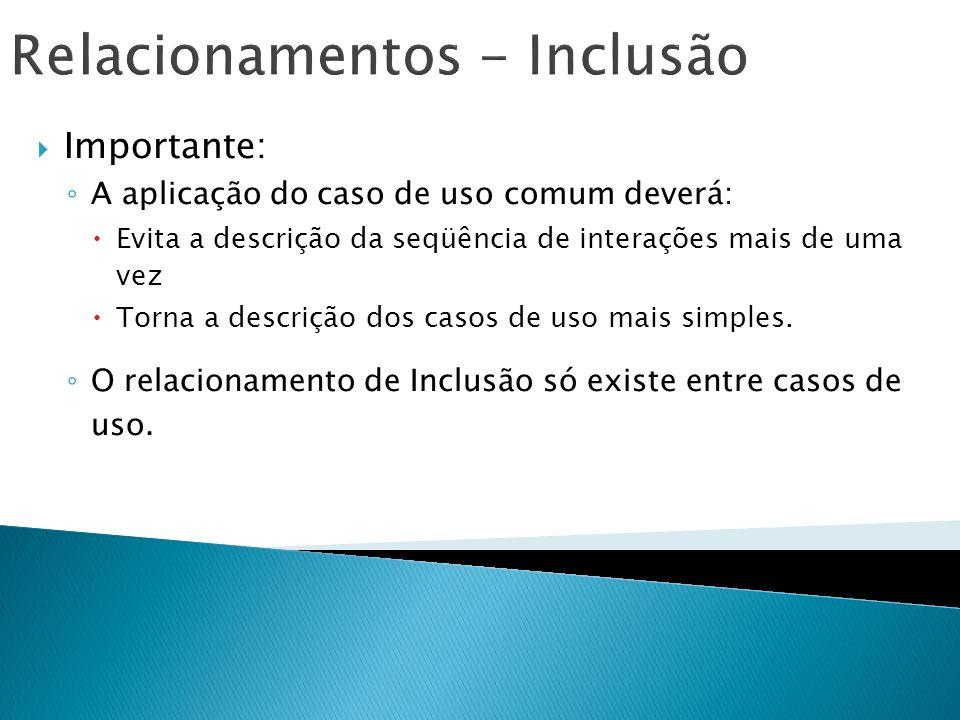 Relacionamentos - Inclusão Importante: A aplicação do caso de uso comum deverá: Evita a descrição da seqüência de interações mais de uma vez Torna a d