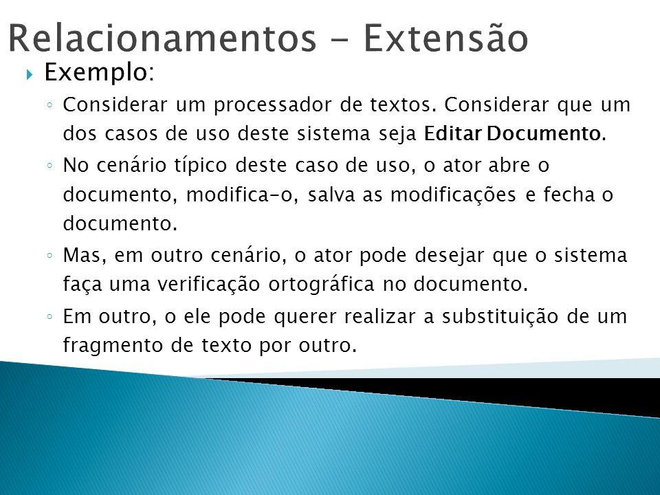 Relacionamentos - Extensão Exemplo: Considerar um processador de textos. Considerar que um dos casos de uso deste sistema seja Editar Documento. No ce