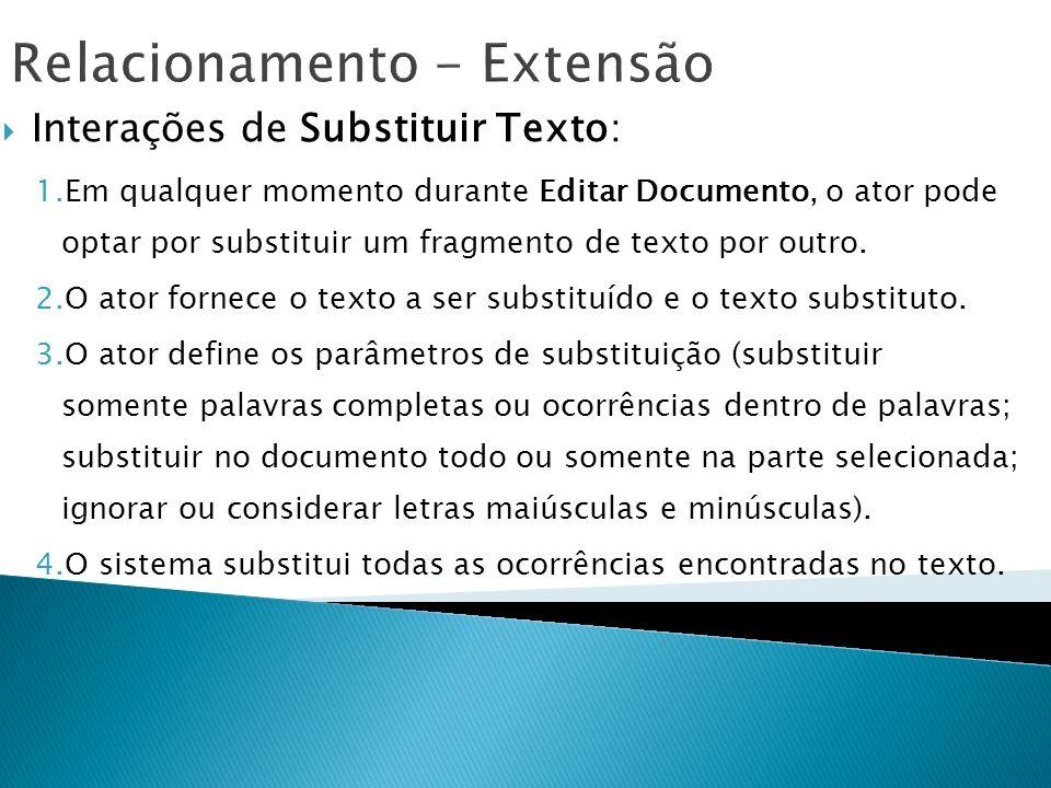 Relacionamento - Extensão Interações de Substituir Texto: 1.Em qualquer momento durante Editar Documento, o ator pode optar por substituir um fragment
