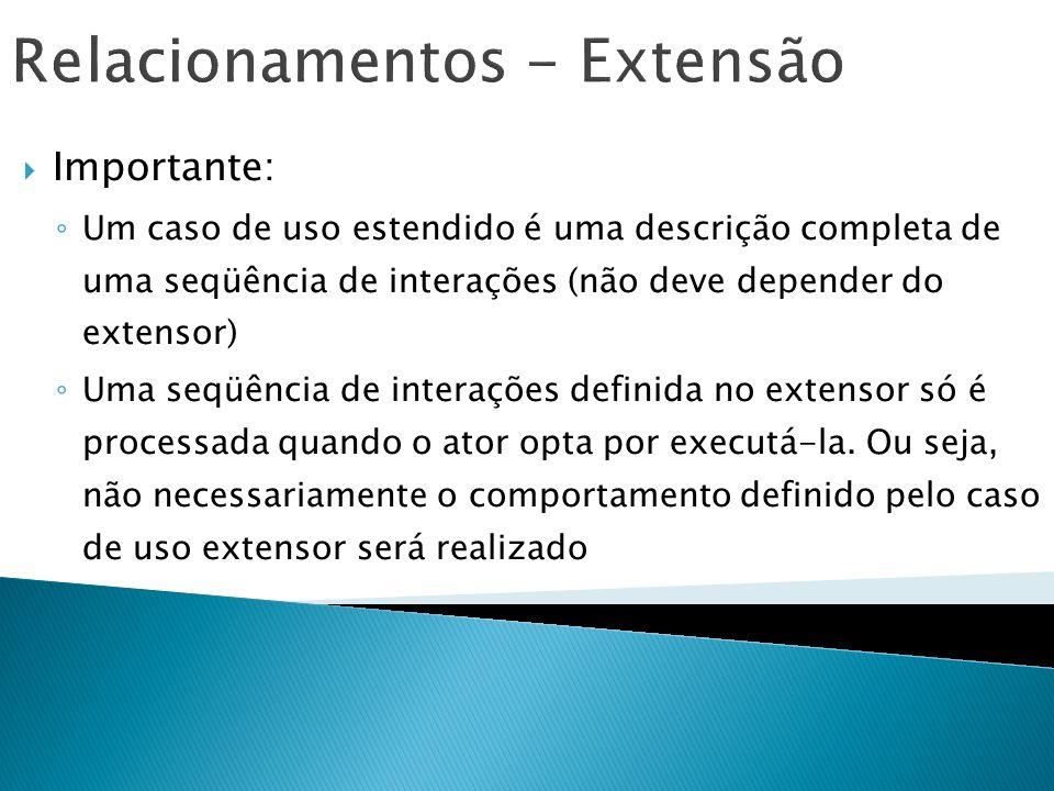 Relacionamentos - Extensão Importante: Um caso de uso estendido é uma descrição completa de uma seqüência de interações (não deve depender do extensor