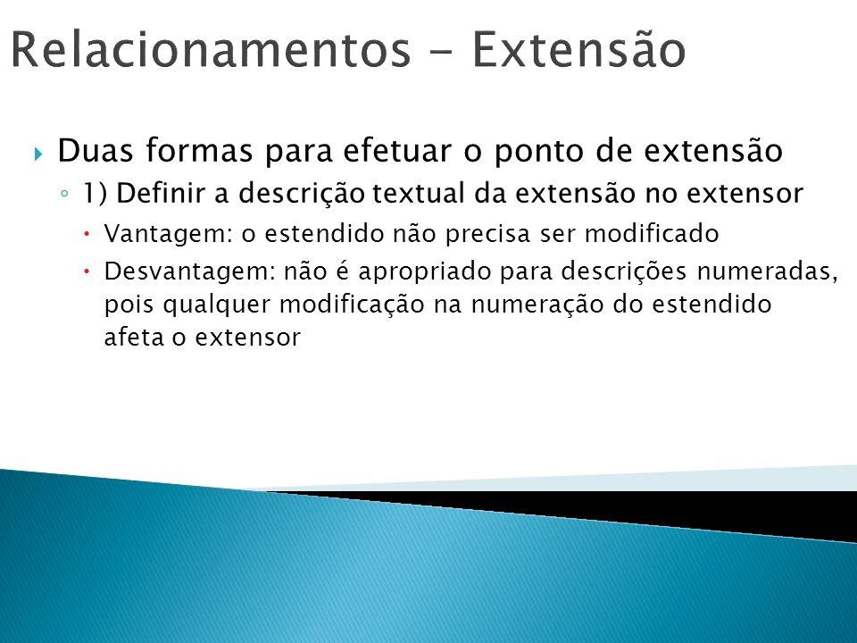 Relacionamentos - Extensão Duas formas para efetuar o ponto de extensão 1) Definir a descrição textual da extensão no extensor Vantagem: o estendido n