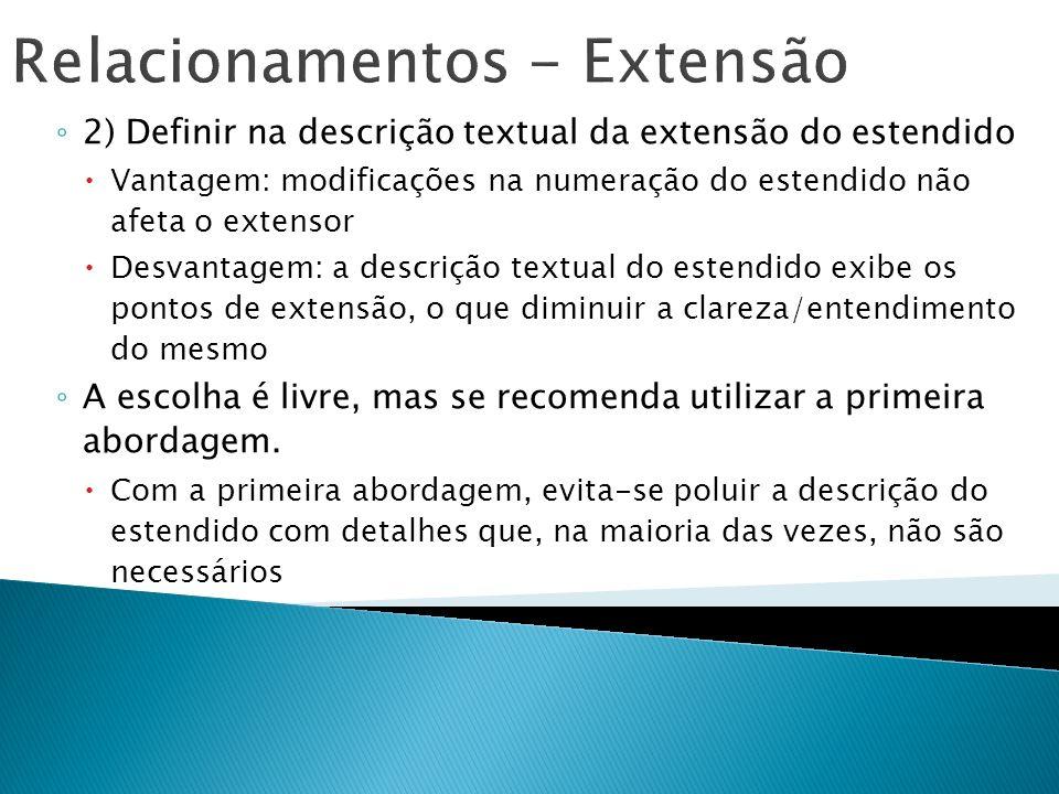 Relacionamentos - Extensão 2) Definir na descrição textual da extensão do estendido Vantagem: modificações na numeração do estendido não afeta o exten