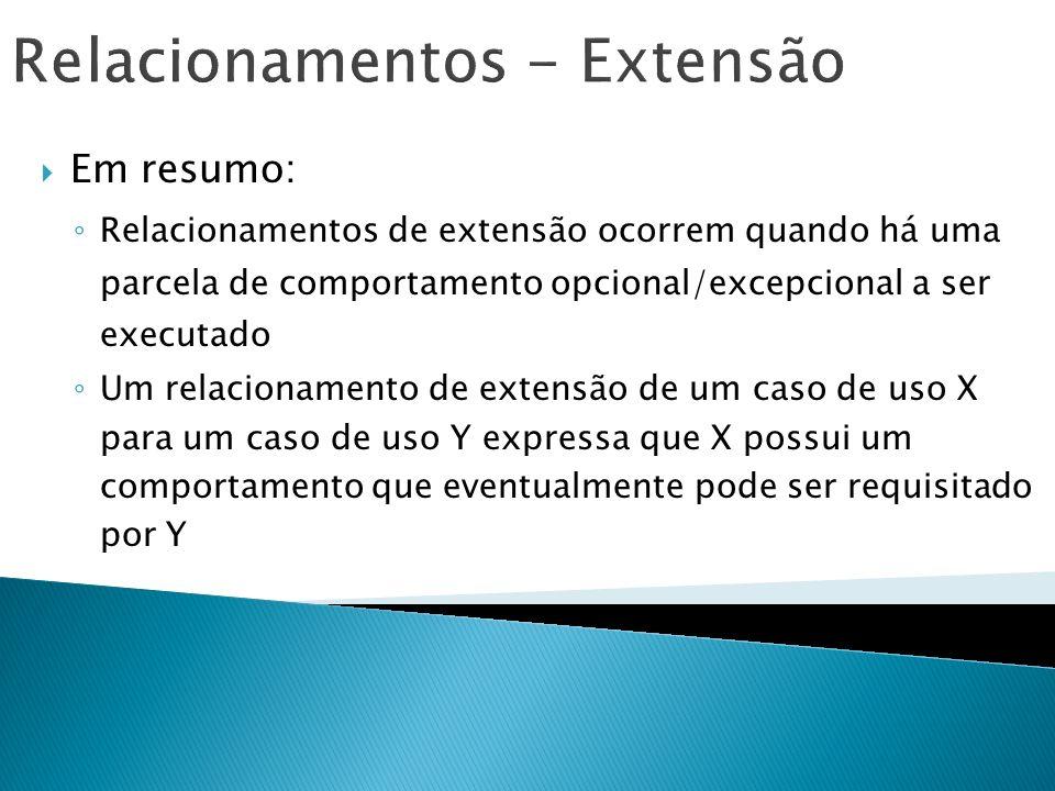 Relacionamentos - Extensão Em resumo: Relacionamentos de extensão ocorrem quando há uma parcela de comportamento opcional/excepcional a ser executado