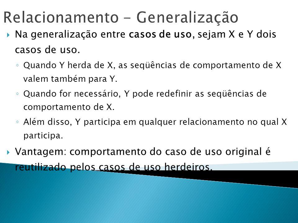 Relacionamento - Generalização Na generalização entre casos de uso, sejam X e Y dois casos de uso. Quando Y herda de X, as seqüências de comportamento