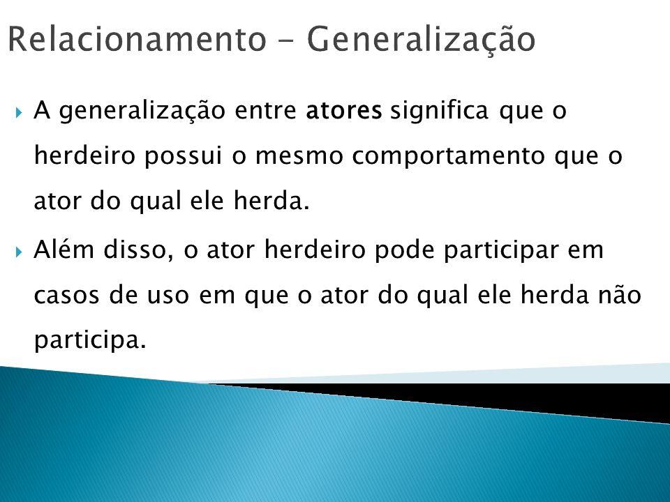Relacionamento - Generalização A generalização entre atores significa que o herdeiro possui o mesmo comportamento que o ator do qual ele herda. Além d