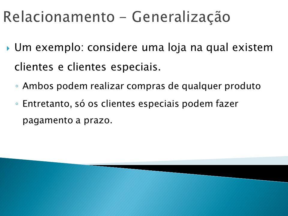 Relacionamento - Generalização Um exemplo: considere uma loja na qual existem clientes e clientes especiais. Ambos podem realizar compras de qualquer