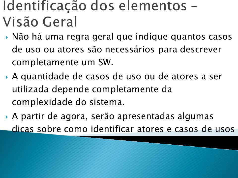 Identificação dos elementos – Visão Geral Não há uma regra geral que indique quantos casos de uso ou atores são necessários para descrever completamen