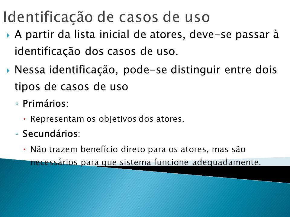 Identificação de casos de uso A partir da lista inicial de atores, deve-se passar à identificação dos casos de uso. Nessa identificação, pode-se disti