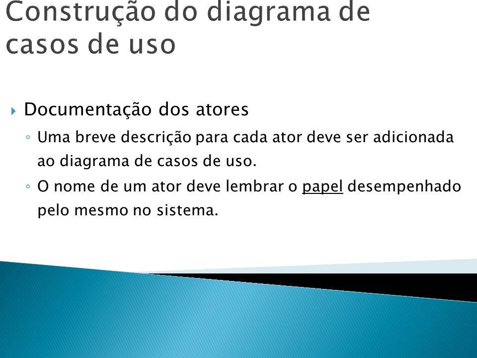 Construção do diagrama de casos de uso Documentação dos atores Uma breve descrição para cada ator deve ser adicionada ao diagrama de casos de uso. O n