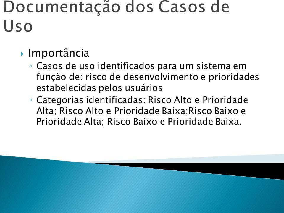 Documentação dos Casos de Uso Importância Casos de uso identificados para um sistema em função de: risco de desenvolvimento e prioridades estabelecida