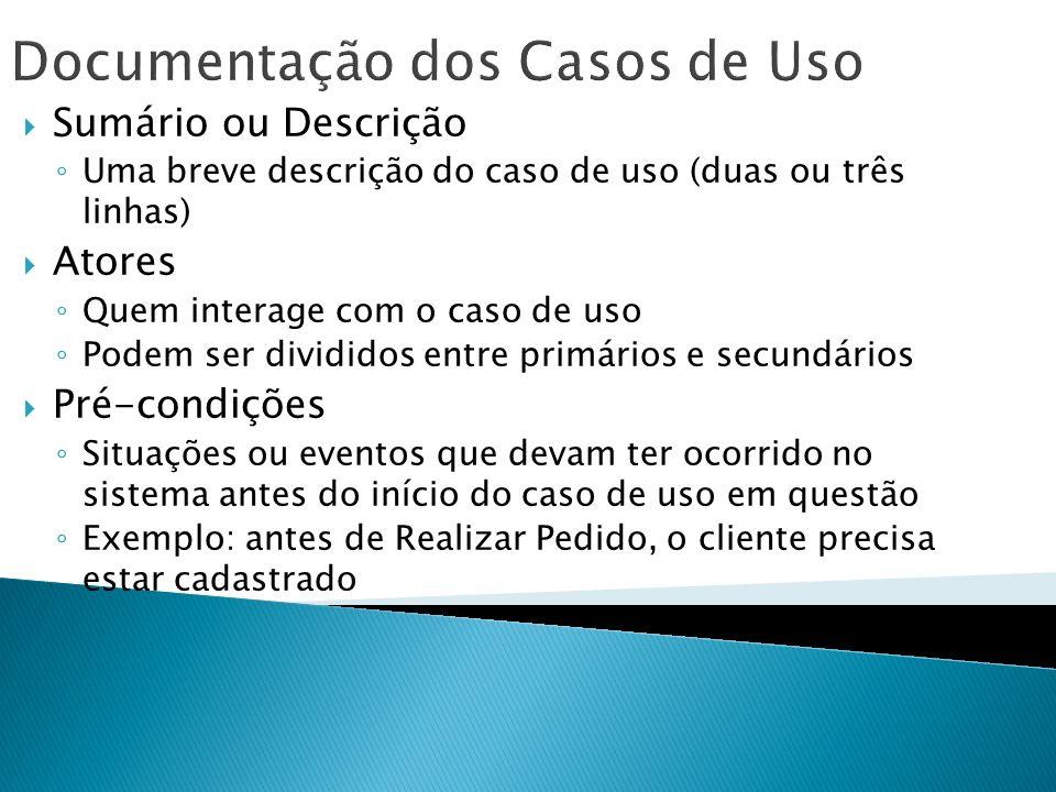 Documentação dos Casos de Uso Sumário ou Descrição Uma breve descrição do caso de uso (duas ou três linhas) Atores Quem interage com o caso de uso Pod