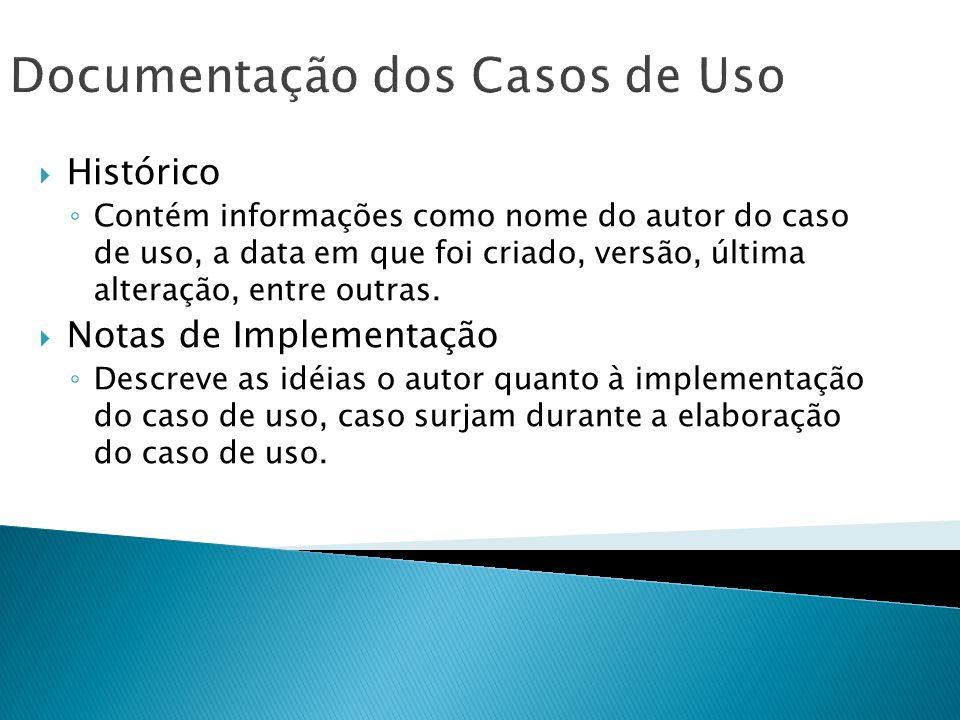 Documentação dos Casos de Uso Histórico Contém informações como nome do autor do caso de uso, a data em que foi criado, versão, última alteração, entr