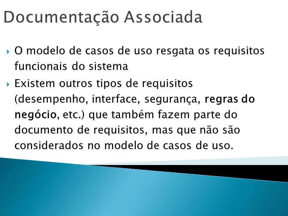 Documentação Associada O modelo de casos de uso resgata os requisitos funcionais do sistema Existem outros tipos de requisitos (desempenho, interface,