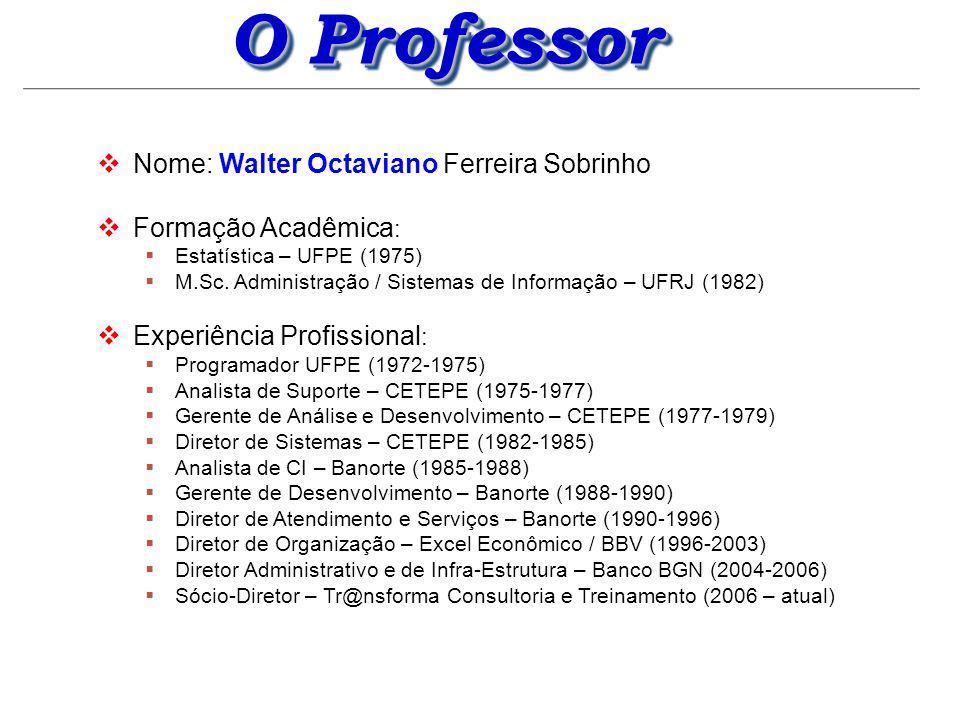 O Professor Nome: Walter Octaviano Ferreira Sobrinho Experiência Acadêmica : Professor Colaborador UFPE – Curso de Ciência da Computação (1975-1978) Professor da UNICAP – (1977 – 1982) Chefe do Departamento de Estatística e Informática da UNICAP (1982 – 1987) Professor da Faculdade Maurício de Nassau (2007 – atual) Administração (Sistemas de Informação) Gestão Empresarial e de Recursos Humanos (Redes) Empreendedorismo (Redes e Sistemas de Internet) Informática (cursos de Saúde e Comunicação Social) Professor da Faculdade Santa Maria (2008 – atual) Teoria Geral da Administração (Sistemas de Informação)