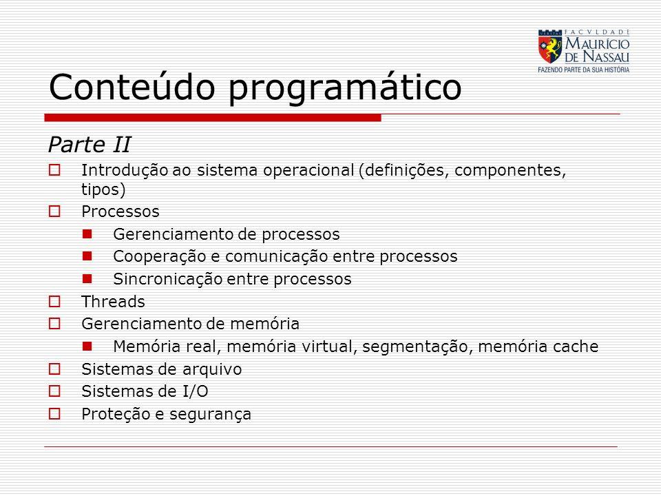 Conteúdo programático Parte II Introdução ao sistema operacional (definições, componentes, tipos) Processos Gerenciamento de processos Cooperação e co
