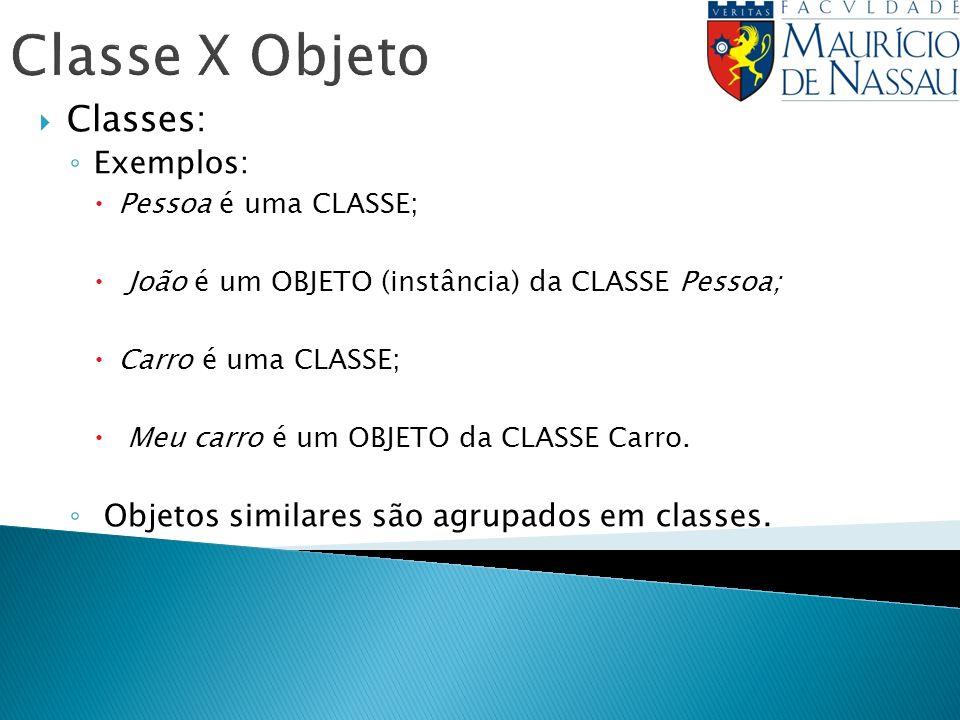 Classe X Objeto Classes: Exemplos: Pessoa é uma CLASSE; João é um OBJETO (instância) da CLASSE Pessoa; Carro é uma CLASSE; Meu carro é um OBJETO da CL