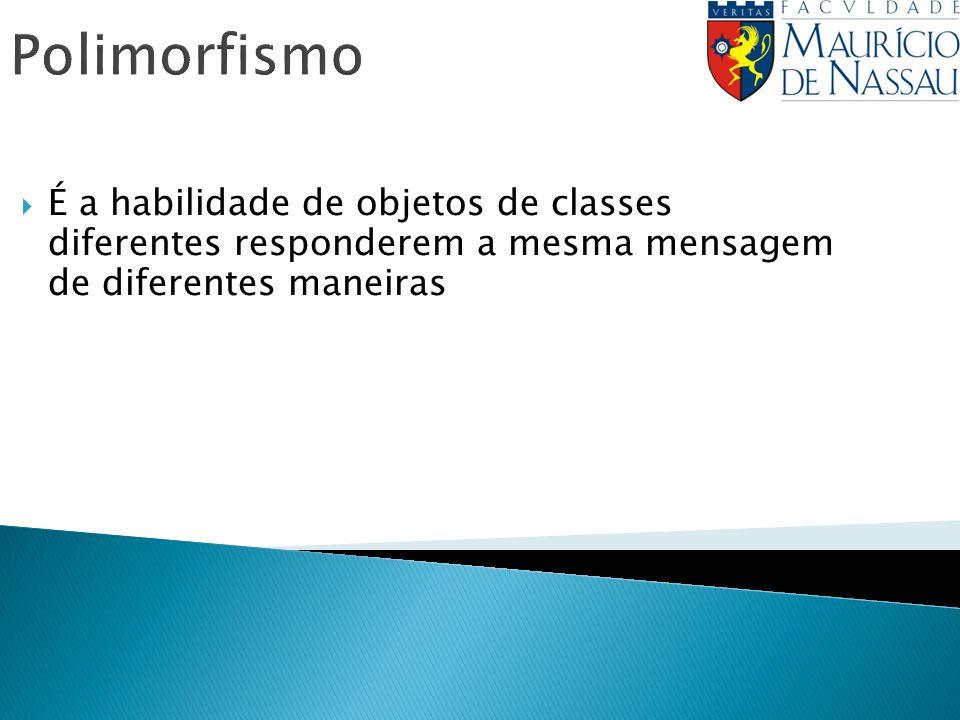 Polimorfismo É a habilidade de objetos de classes diferentes responderem a mesma mensagem de diferentes maneiras
