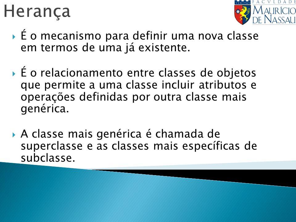 É o mecanismo para definir uma nova classe em termos de uma já existente. É o relacionamento entre classes de objetos que permite a uma classe incluir