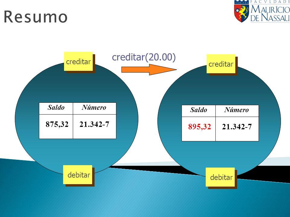 Resumo creditar(20.00) Número Saldo 21.342-7 875,32 creditar debitar Número Saldo 21.342-7 895,32 creditar debitar