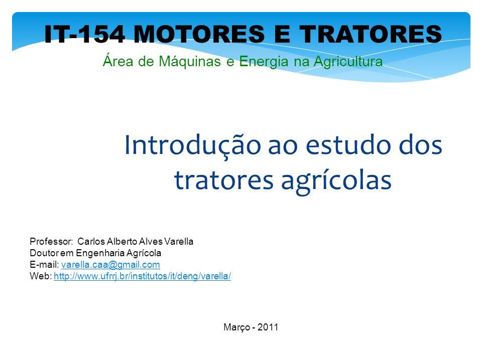IT-154 MOTORES E TRATORES Professor: Carlos Alberto Alves Varella Doutor em Engenharia Agrícola E-mail: varella.caa@gmail.comvarella.caa@gmail.com Web