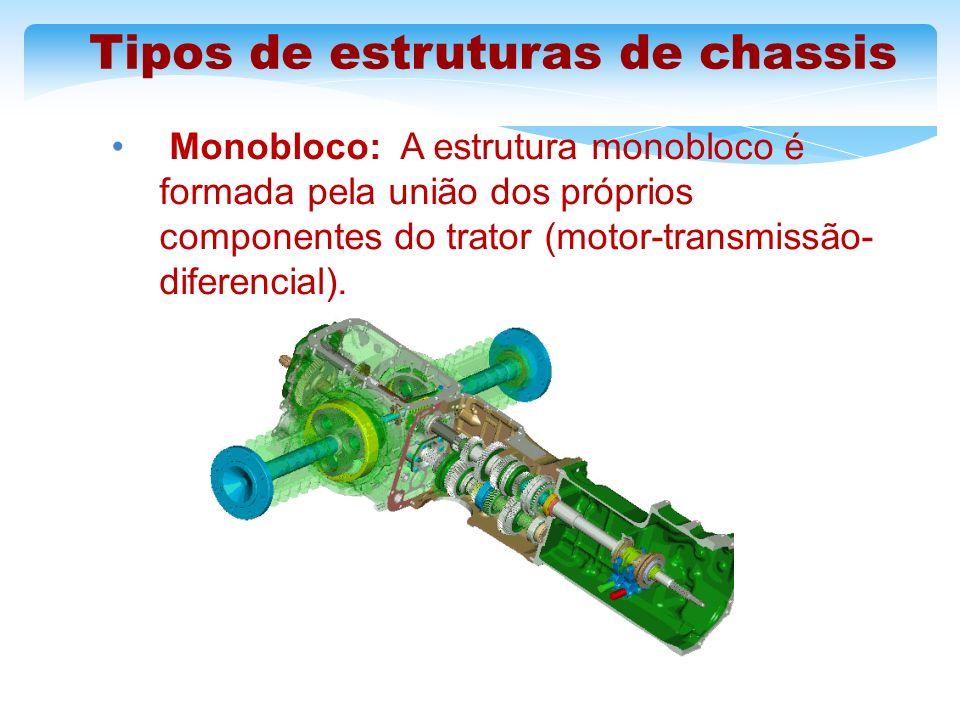 Tipos de estruturas de chassis Monobloco: A estrutura monobloco é formada pela união dos próprios componentes do trator (motor-transmissão- diferencia