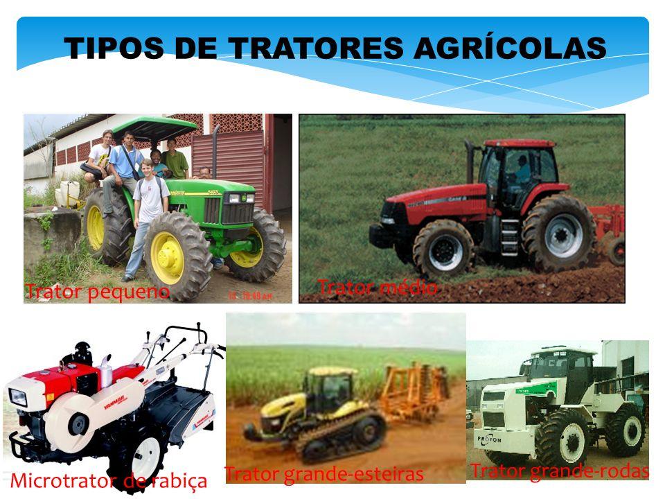 TIPOS DE TRATORES AGRÍCOLAS Trator pequeno Trator médio Microtrator de rabiça Trator grande-esteiras Trator grande-rodas