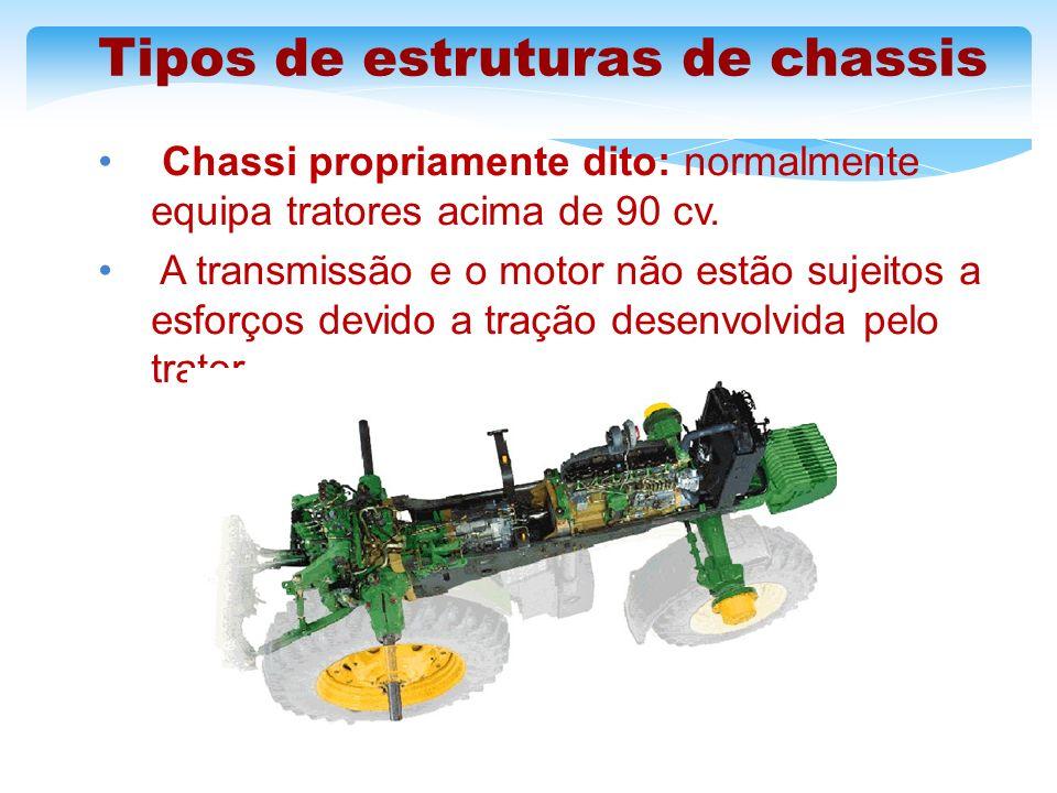 Tipos de estruturas de chassis Chassi propriamente dito: normalmente equipa tratores acima de 90 cv. A transmissão e o motor não estão sujeitos a esfo
