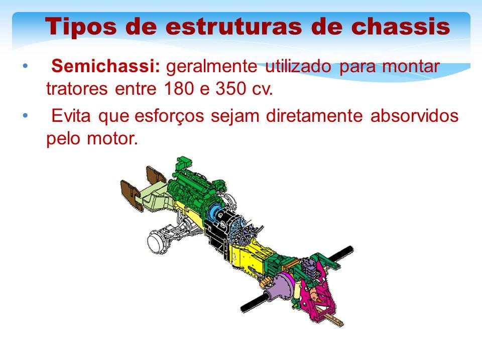 Tipos de estruturas de chassis Semichassi: geralmente utilizado para montar tratores entre 180 e 350 cv. Evita que esforços sejam diretamente absorvid