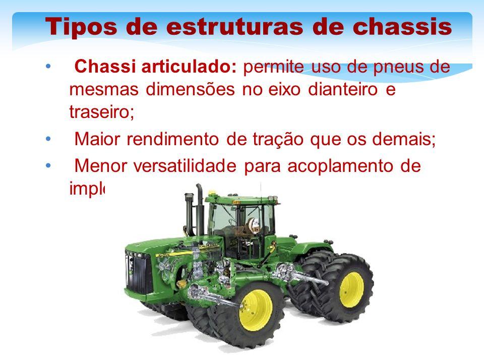 Tipos de estruturas de chassis Chassi articulado: permite uso de pneus de mesmas dimensões no eixo dianteiro e traseiro; Maior rendimento de tração qu