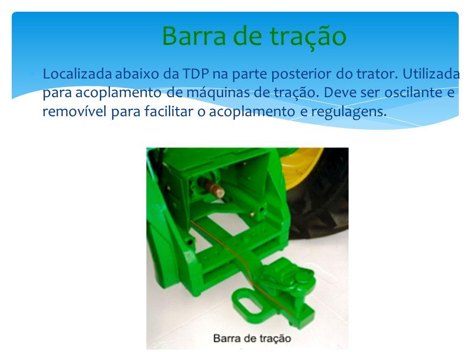 Localizada abaixo da TDP na parte posterior do trator. Utilizada para acoplamento de máquinas de tração. Deve ser oscilante e removível para facilitar