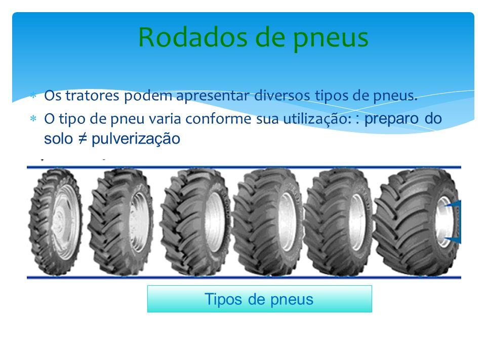 Os tratores podem apresentar diversos tipos de pneus. O tipo de pneu varia conforme sua utilização: : preparo do solo pulverização Rodados de pneus Ti