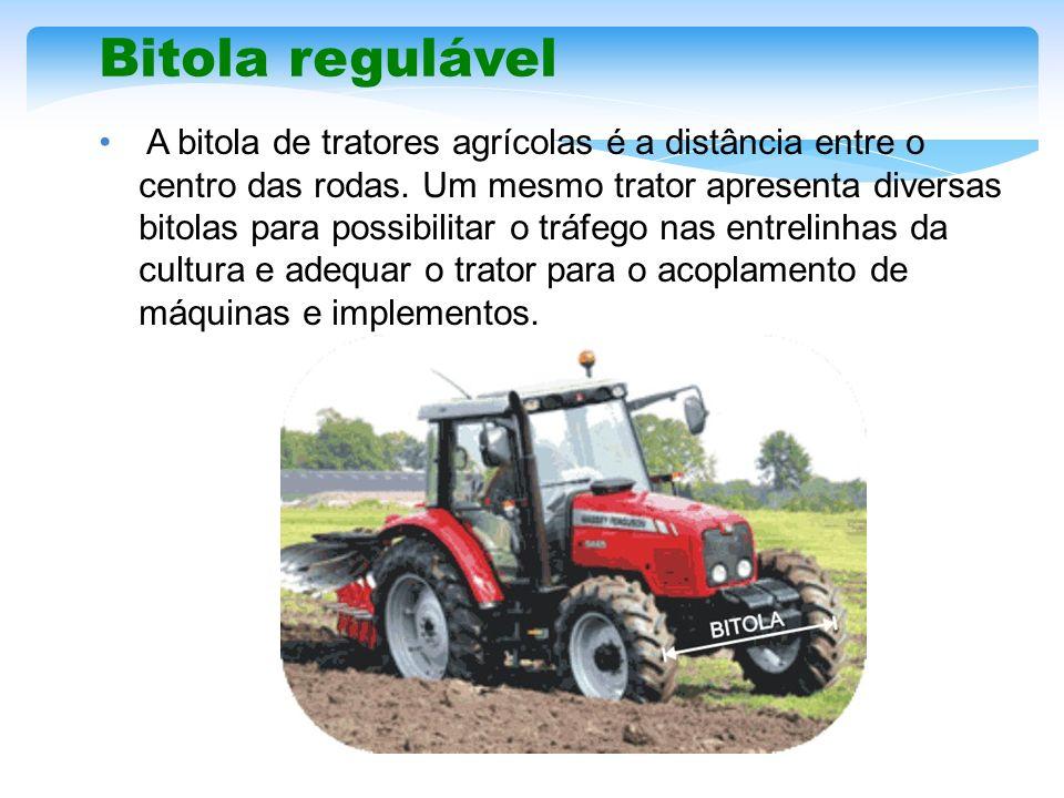 Bitola regulável A bitola de tratores agrícolas é a distância entre o centro das rodas. Um mesmo trator apresenta diversas bitolas para possibilitar o