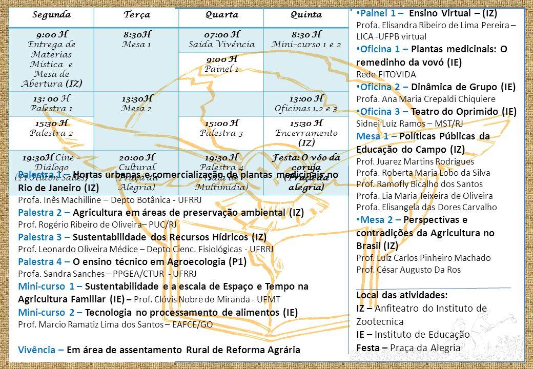 SegundaTerçaQuartaQuinta 9:00 H Entrega de Materias Mística e Mesa de Abertura (IZ) 8:30H Mesa 1 07:00 H Saída Vivência 8:30 H Mini–curso 1 e 2 9:00 H Painel 1 13: 00 H Palestra 1 13:30H Mesa 2 13:00 H Oficinas 1,2 e 3 15:30 H Palestra 2 15:00 H Palestra 3 15:30 H Encerramento (IZ) 19:30H Cine – Diálogo (P1-Hilton Salles) 20:00 H Cultural (Praça da Alegria) 19:30 H Palestra 4 (Sala de Multimídia) Festa: O vôo da coruja (Praça da alegria) Palestra 1 – Hortas urbanas e comercialização de plantas medicinais no Rio de Janeiro (IZ) Profa.