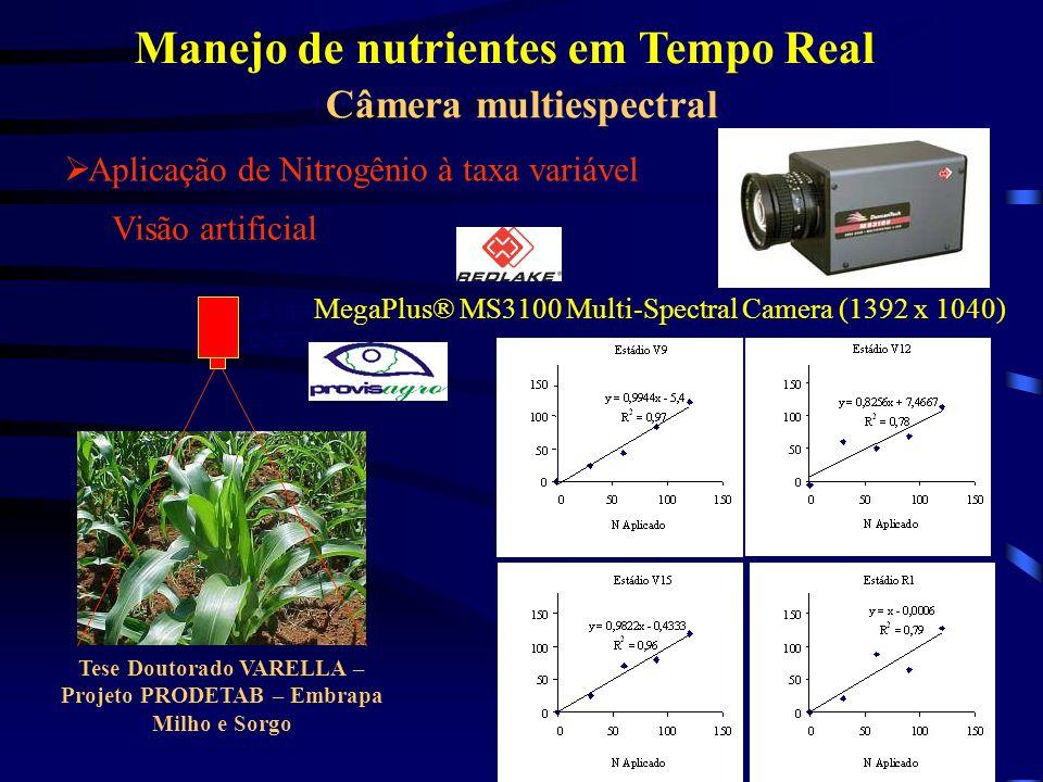 Câmera multiespectral Visão artificial CÂMERA DIGITAL Tese Doutorado VARELLA – Projeto PRODETAB – Embrapa Milho e Sorgo Aplicação de Nitrogênio à taxa