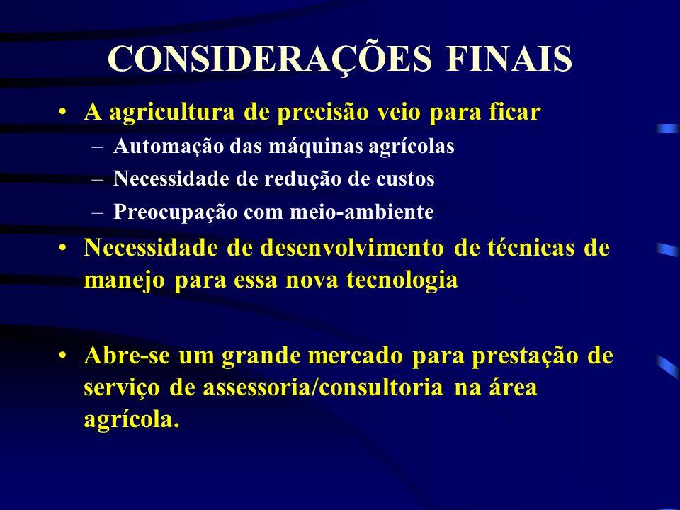 CONSIDERAÇÕES FINAIS A agricultura de precisão veio para ficar –Automação das máquinas agrícolas –Necessidade de redução de custos –Preocupação com me