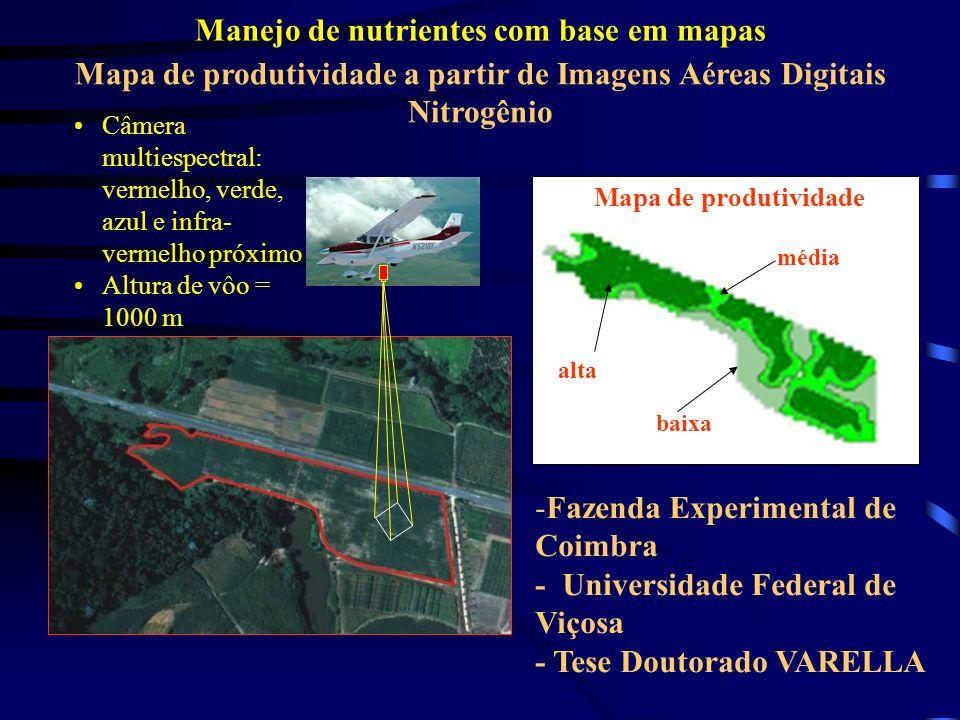 Mapa de produtividade a partir de Imagens Aéreas Digitais Nitrogênio Mapa de produtividade média baixa alta -Fazenda Experimental de Coimbra - Univers