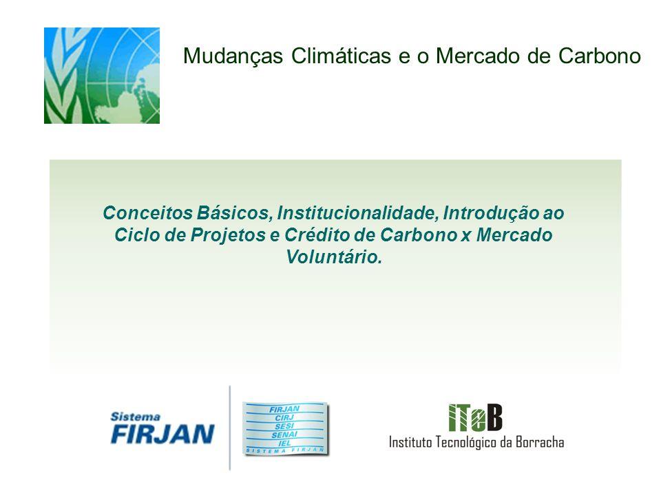 Mudanças Climáticas e o Mercado de Carbono Conceitos Básicos, Institucionalidade, Introdução ao Ciclo de Projetos e Crédito de Carbono x Mercado Voluntário.