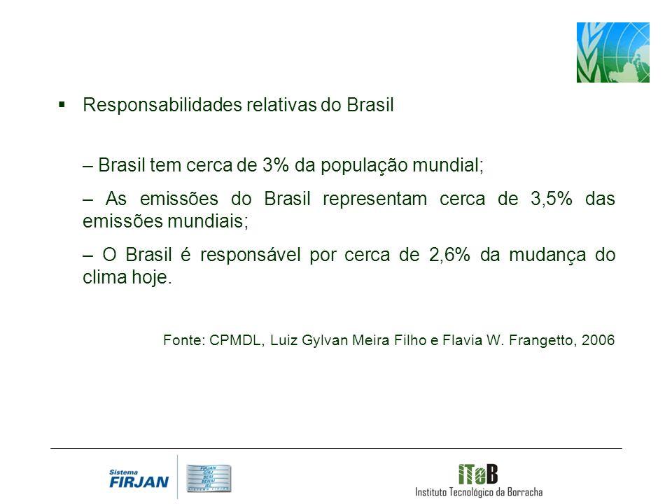 Responsabilidades relativas do Brasil – Brasil tem cerca de 3% da população mundial; – As emissões do Brasil representam cerca de 3,5% das emissões mundiais; – O Brasil é responsável por cerca de 2,6% da mudança do clima hoje.