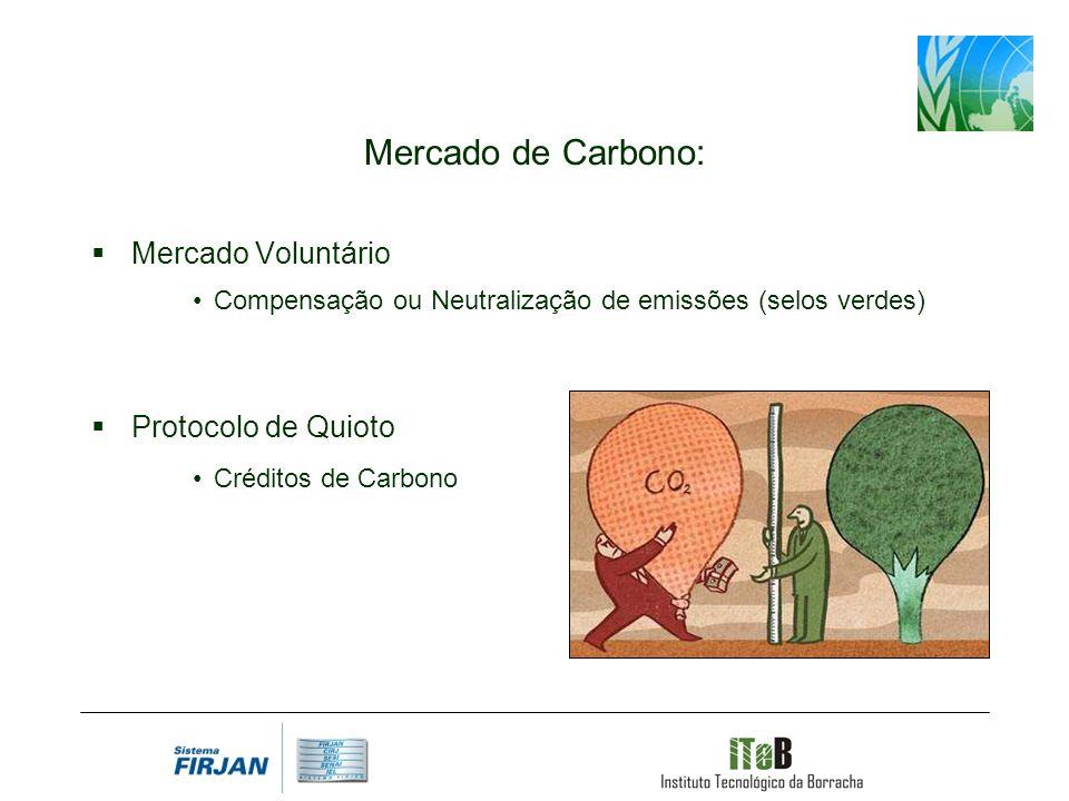 Mercado de Carbono: Mercado Voluntário Compensação ou Neutralização de emissões (selos verdes) Protocolo de Quioto Créditos de Carbono