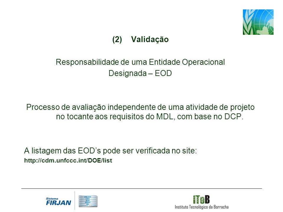 Validação Responsabilidade de uma Entidade Operacional Designada – EOD Processo de avaliação independente de uma atividade de projeto no tocante aos requisitos do MDL, com base no DCP.