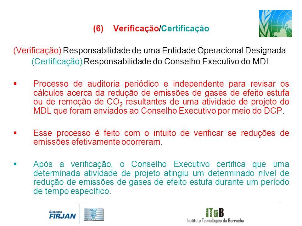 Verificação/Certificação (Verificação) Responsabilidade de uma Entidade Operacional Designada (Certificação) Responsabilidade do Conselho Executivo do MDL Processo de auditoria periódico e independente para revisar os cálculos acerca da redução de emissões de gases de efeito estufa ou de remoção de CO 2 resultantes de uma atividade de projeto do MDL que foram enviados ao Conselho Executivo por meio do DCP.
